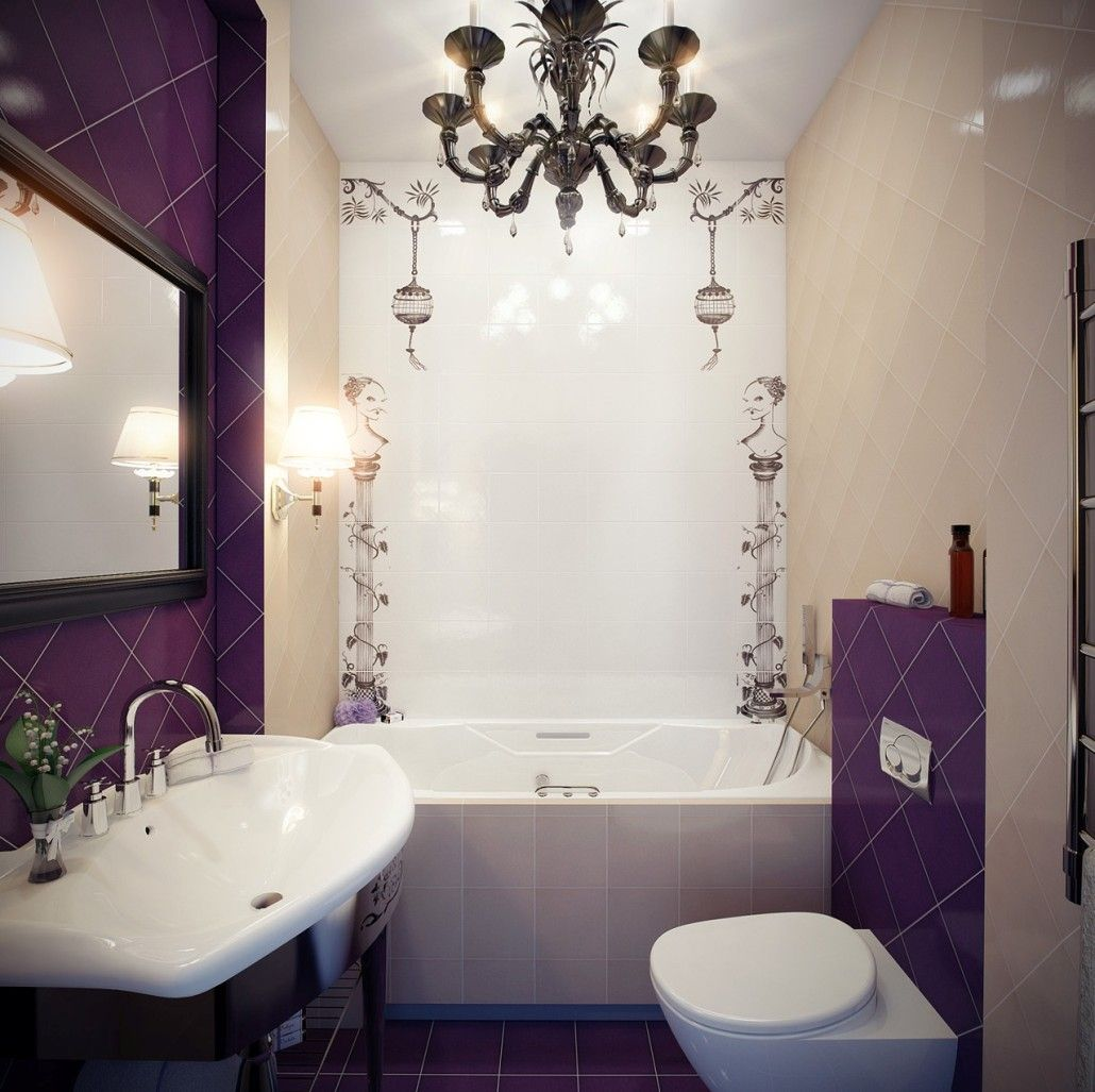 Choosing Ceramic Tile for Small Bathroom. Purple accents in the Classic styled atmosphere