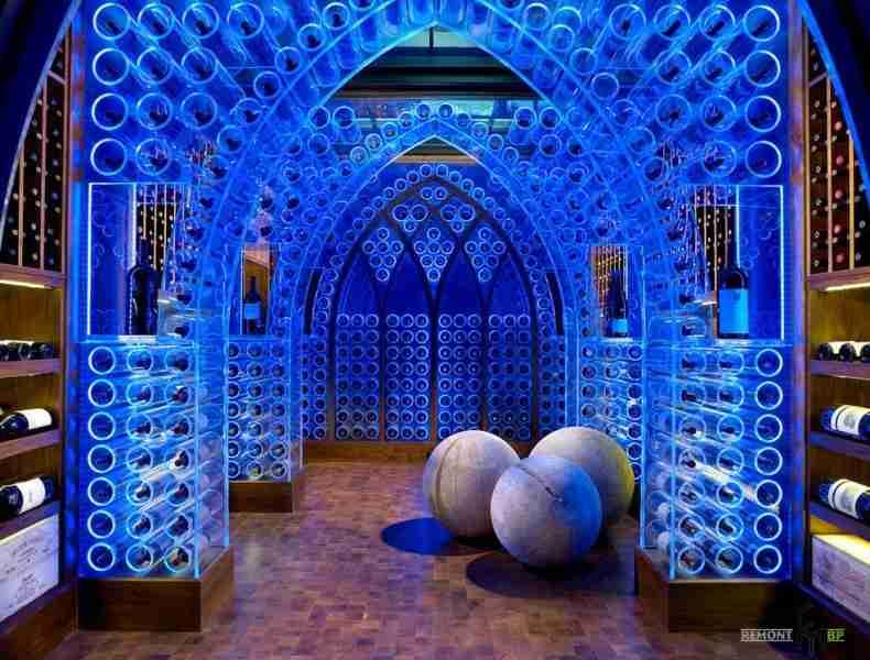 Wine Cellar at Home: Secrets of Modern Trend. Unique illuminatino of blue color