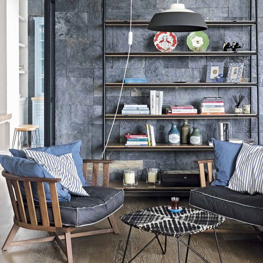 Casual styled room with open shelving