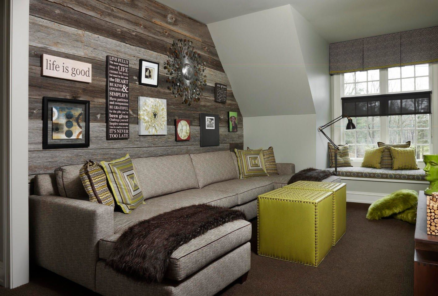 150 Square Feet Living Room Best Arrangement Ideas. Green pouf and gray leather sofa