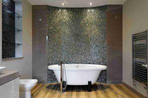 Bathroom Shelves: Fashionable Trends of Practical Interior Decoration. Pebble imitating tile on the wall of super modern bathroom