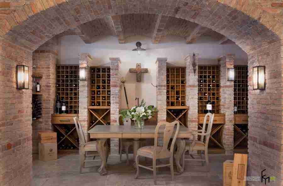 Wine Cellar at Home: Secrets of Modern Trend. Ethnic motiffs and brickwork at the basement