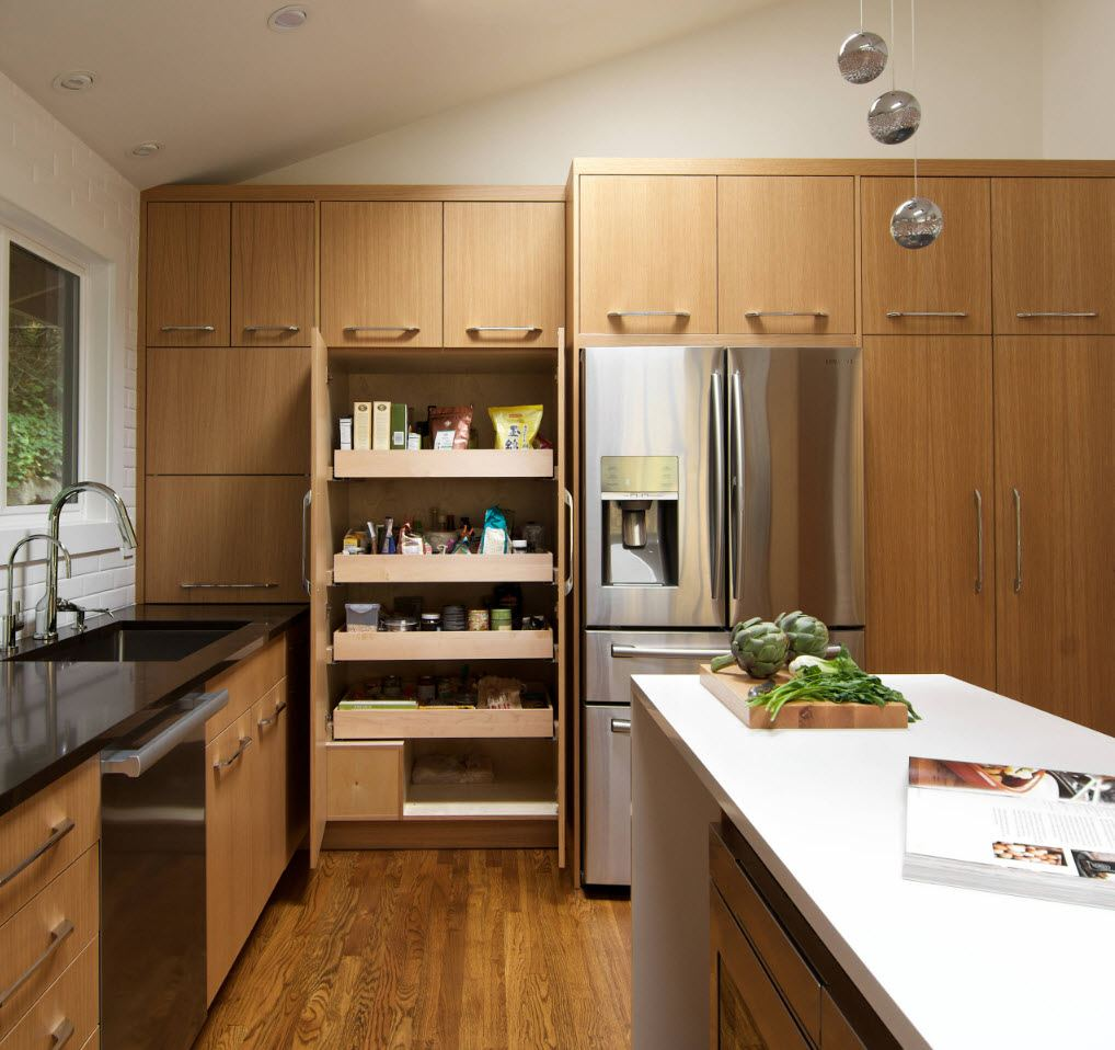 Natural wood for kitchen facades