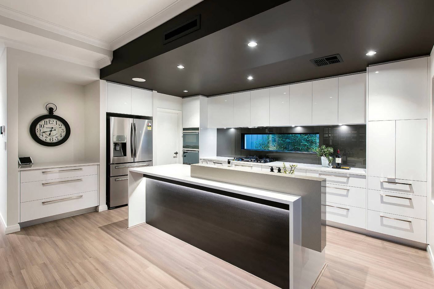 160 Square Feet Kitchen Design Ideas. Gorgeous dark ceiling with built-in fixtures