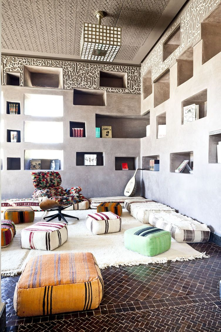 Unusual designed children's room with hive of storage shelving