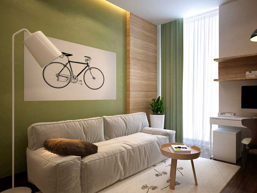 130 Square Feet Living Room most Effective Design Ideas. Modern designed room with green painted wall trimmed with wooden frame