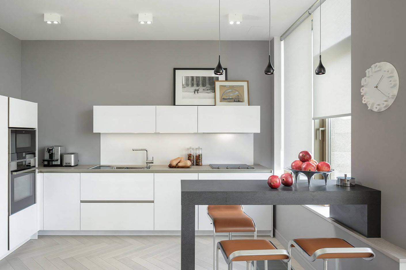 160 Square Feet Kitchen Design Ideas. Nice gray colored walls with built-in bar counter