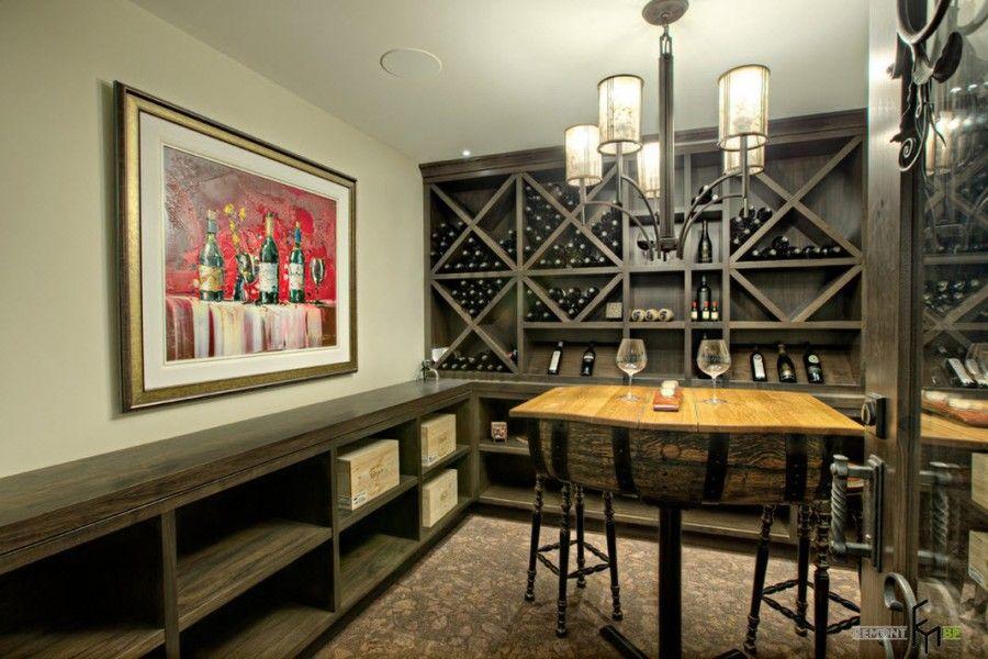 Black wooden shelves in the wine cellar