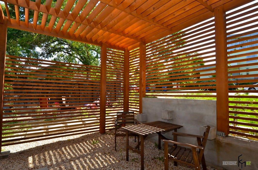 Latticed design of the gazebo for the summer house