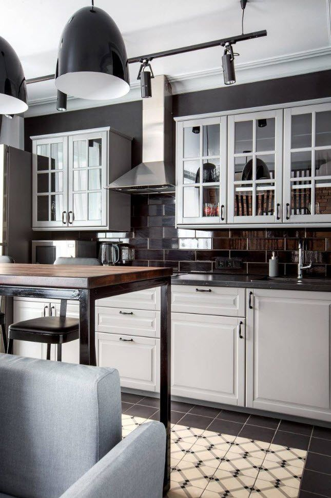 90 Square Feet Kitchen Interior Design Ideas & Examples. Classic styled area with dark cabinets with sash windows