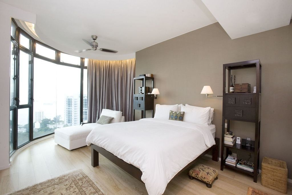 150 Square Feet Bedroom Interior Decoration and Photos. Gray painted walls and white ceiling for mid-sized bedroom with panoramic window