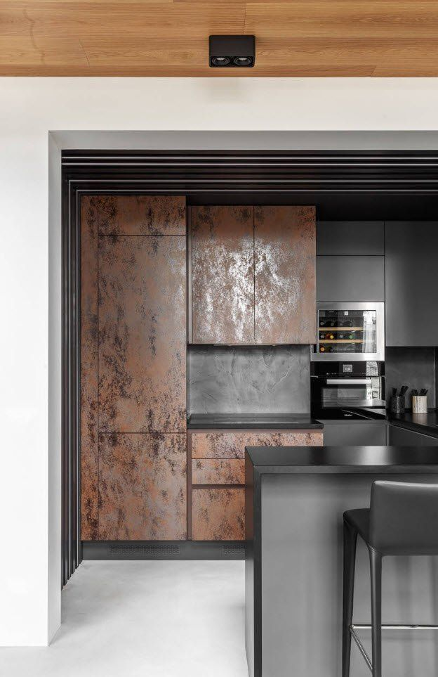 90 Square Feet Kitchen Interior Design Ideas & Examples. Brown textured surfaces for cabinets