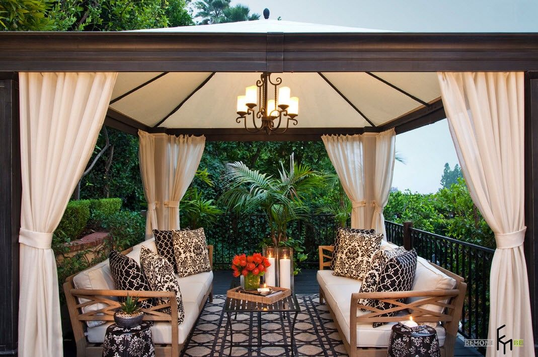 Backyard and Garden Gazebo: Design, Form, Use and Practical Advice. Marquee gazebo with the chandelier