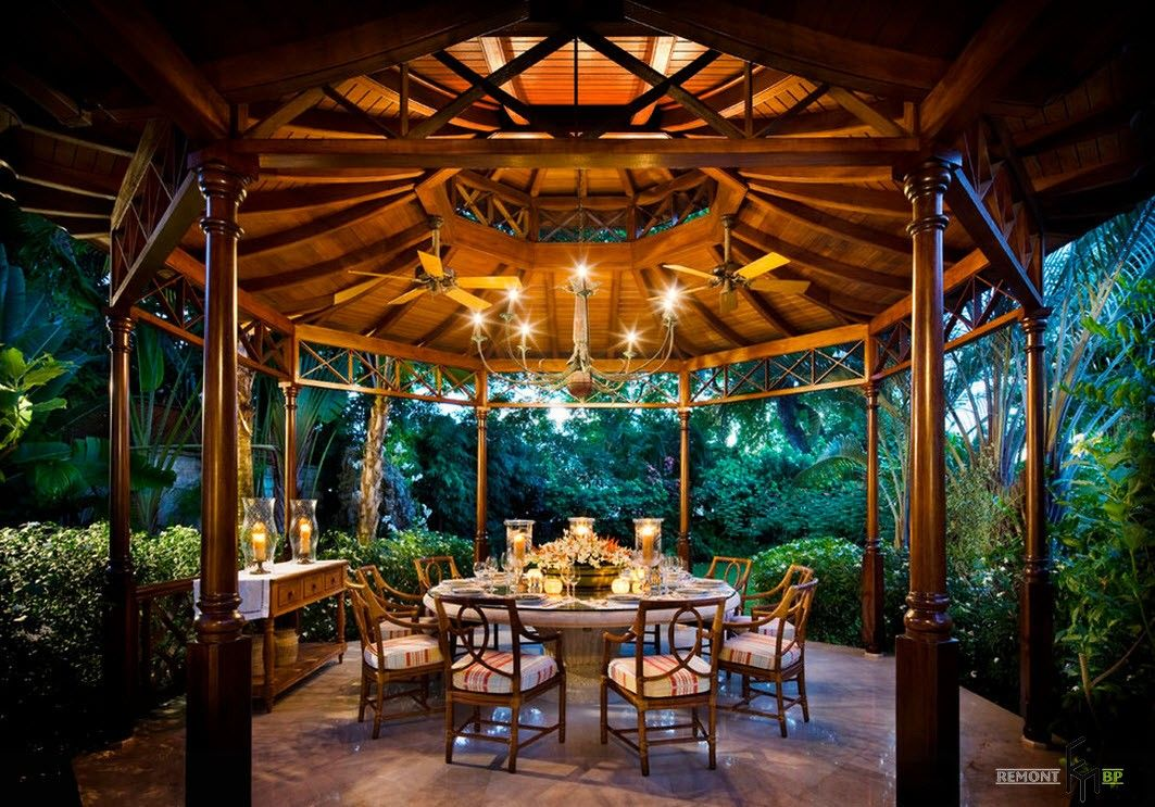 Backyard and Garden Gazebo: Design, Form, Use and Practical Advice. Round capital built pavilion with round table inside