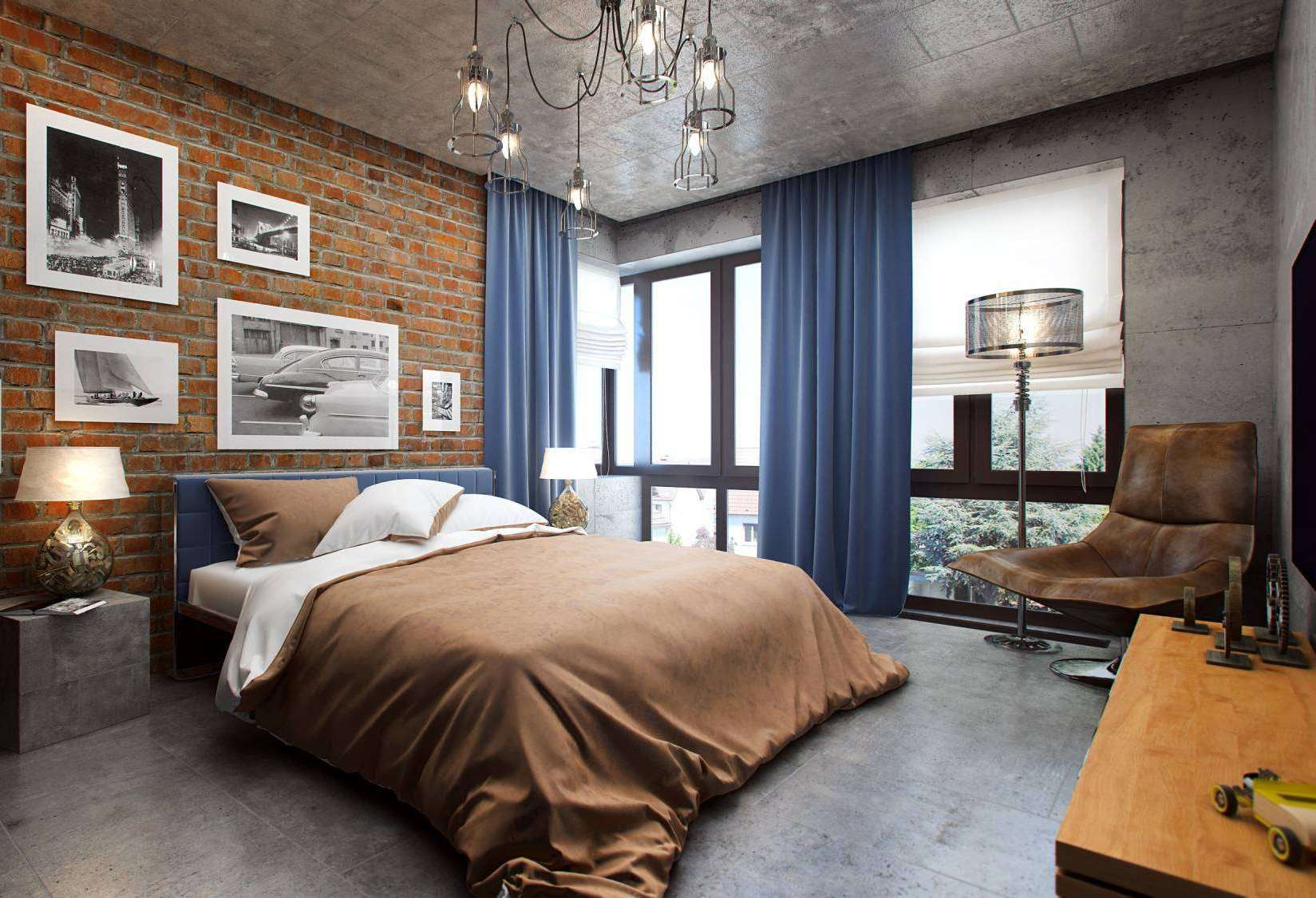 Modern designed bedroom with blue curtains right from the celing and concreted floor