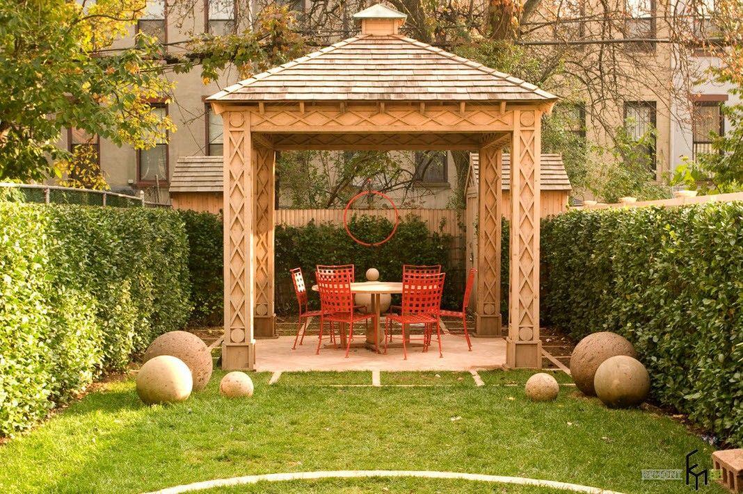 Backyard and Garden Gazebo: Design, Form, Use and Practical Advice. Light stone gazebo