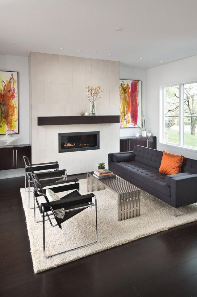 Gray designed contemporary interior artificial fireplace