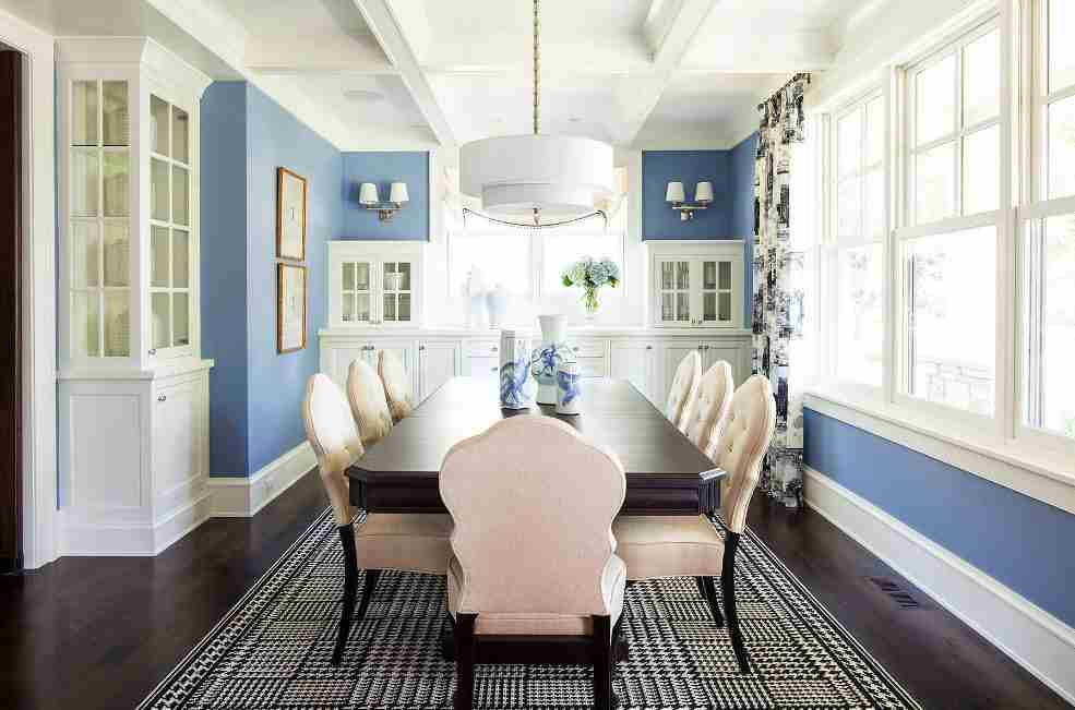 Light kitchen finish with blue painted walls