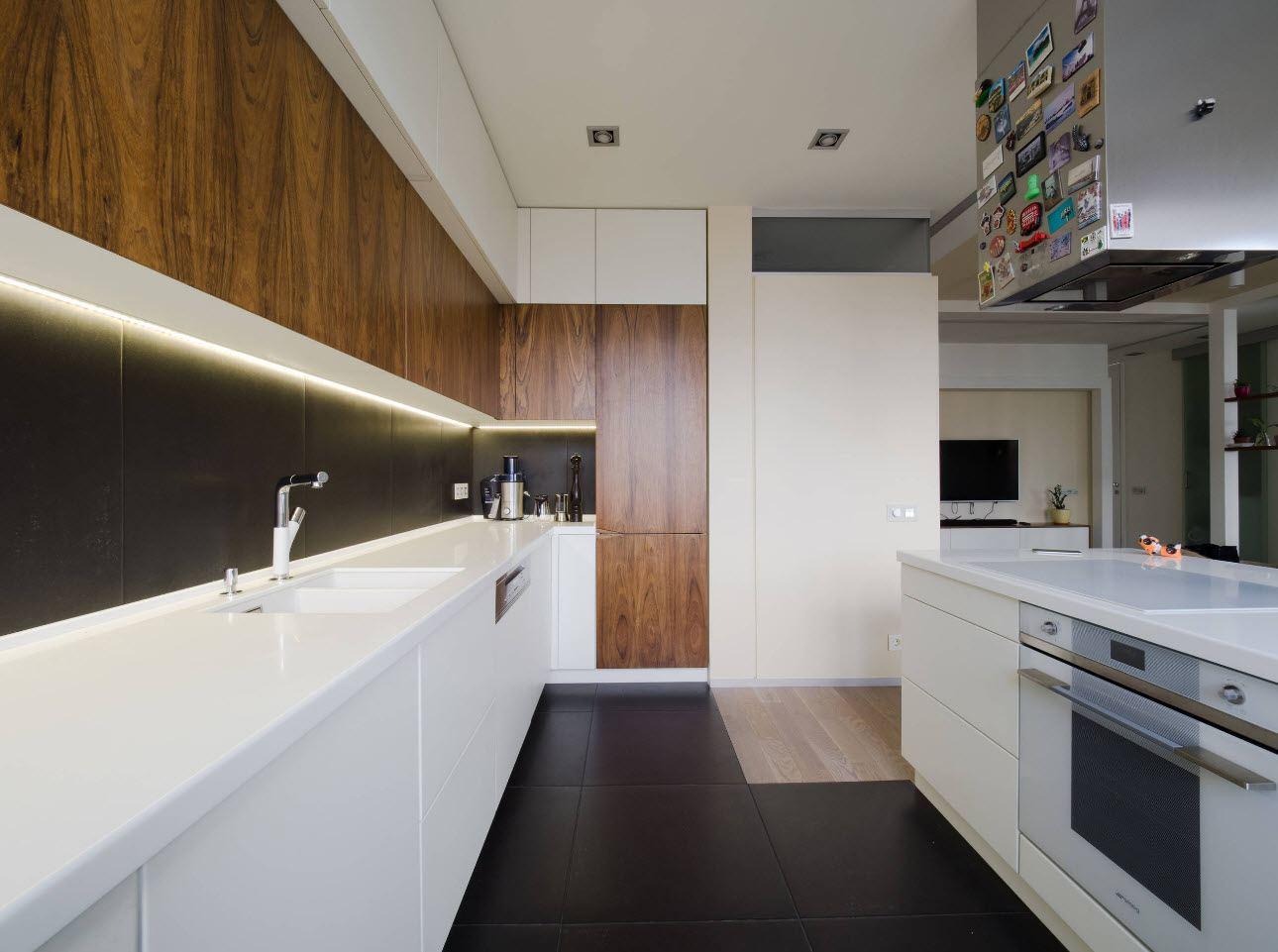90 Square Feet Kitchen Interior Design Ideas & Examples. Modern styled galley kitchen in two main colors