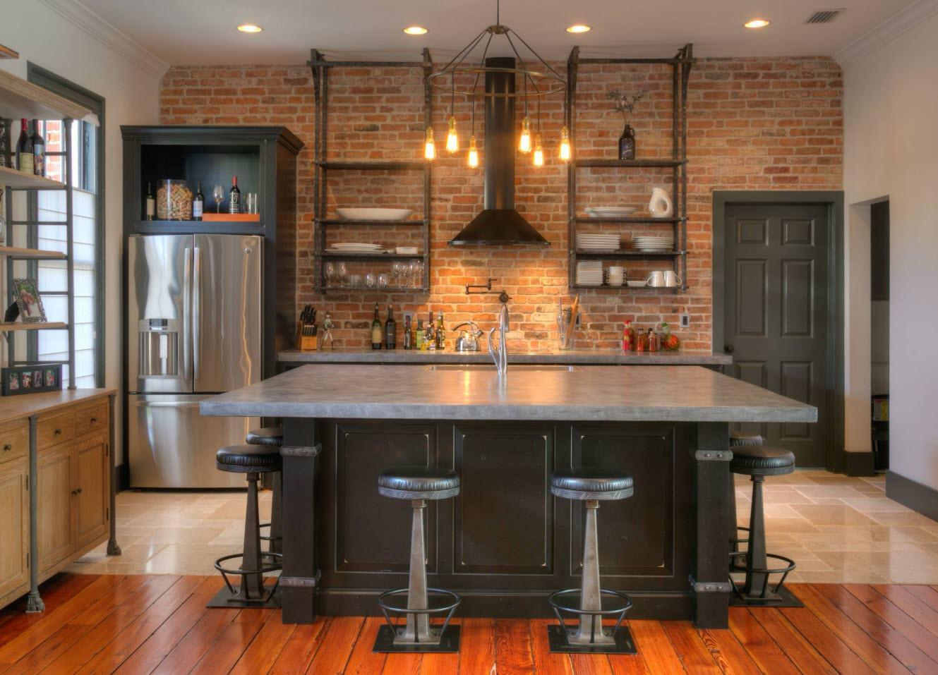 Brickwork and metal for originally styled dark kitchen