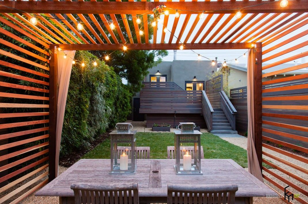 Backyard and Garden Gazebo: Design, Form, Use and Practical Advice. Refreshing canopy of light wood
