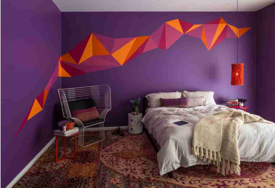 Wall Painting Interior Design Ideas. Modern parallax effect painting in the colorful bedroom
