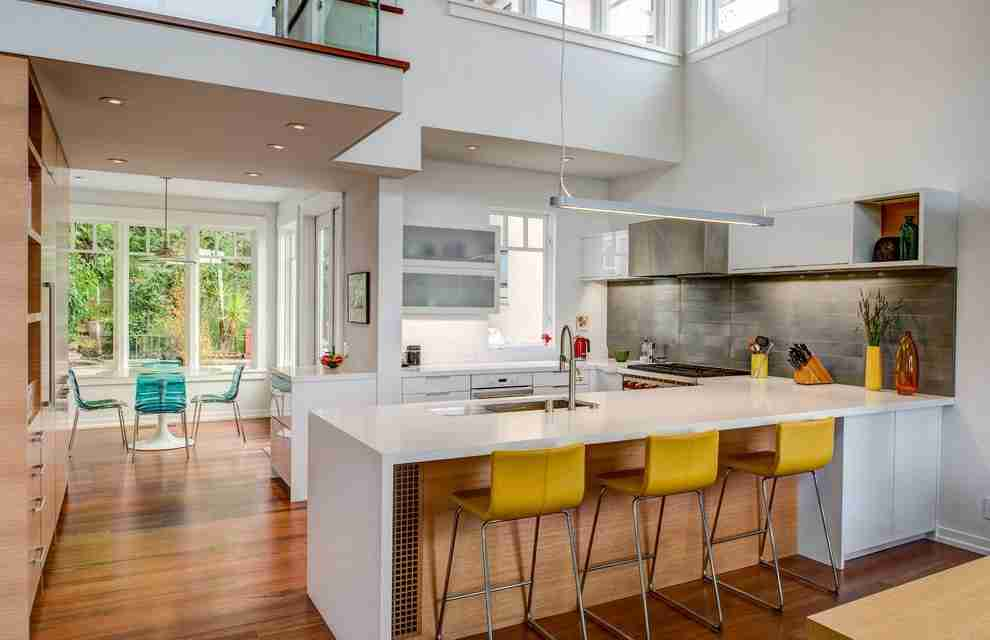 Solid Wood Kitchen Stylish Ideas for Modern Interiors. Yellow chairs to dilute the atmosphere of the modern cottage