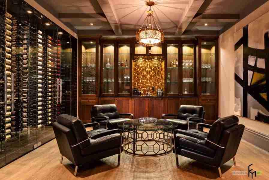Wine Cellar at Home: Secrets of Modern Trend. Black leather furniture