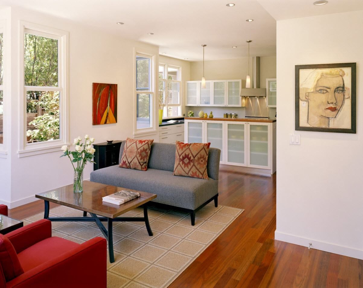 Open space cottage with living zone on the carpet in Casual style