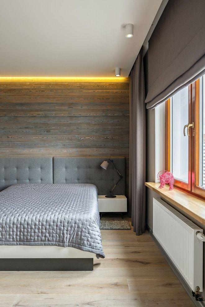 150 Square Feet Bedroom Interior Decoration and Photos. Wooden trimmed headboard with LED-backlight