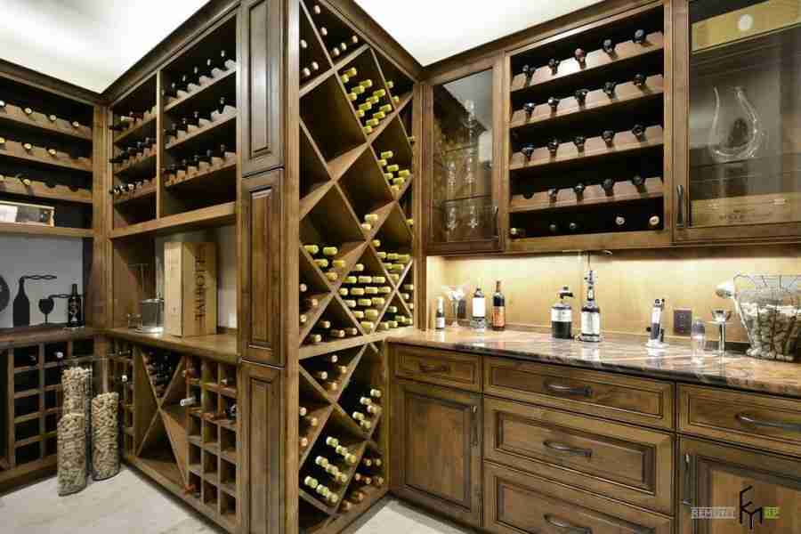 Wooden designed interior with the ability to store wine