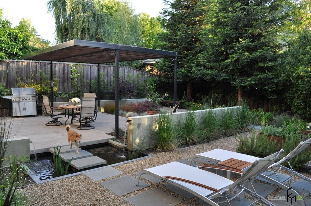 Backyard and Garden Gazebo: Design, Form, Use and Practical Advice. Shallow wooden hut at the eco backyard