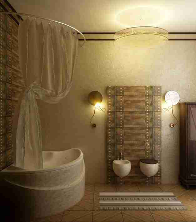 Muted light in cozy ethni styled bathroom with oval acrylic bathtub