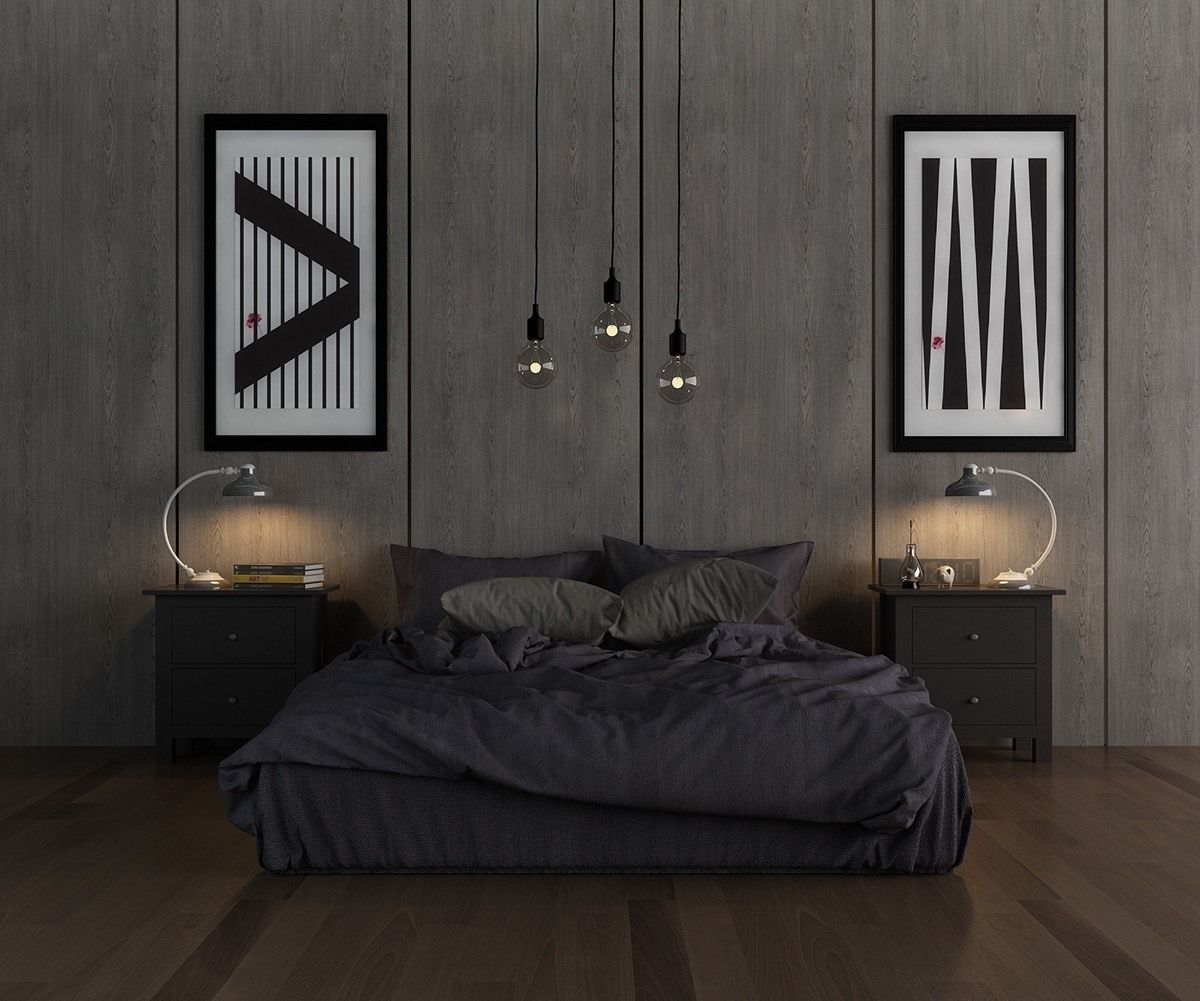 Black designed bedroom with pendant lamps on cords