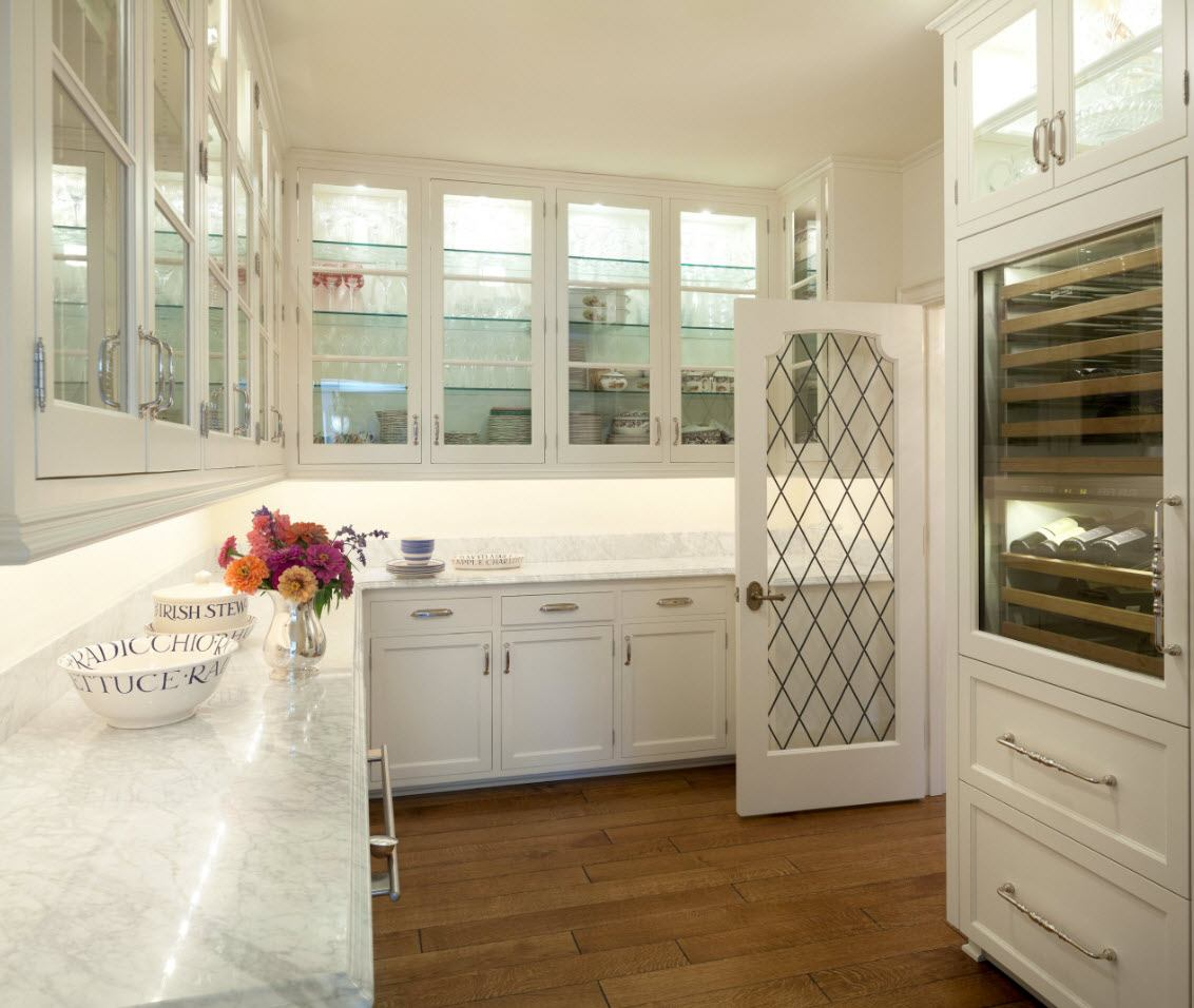 Fully glazed kitchen cabinets for white decorated space