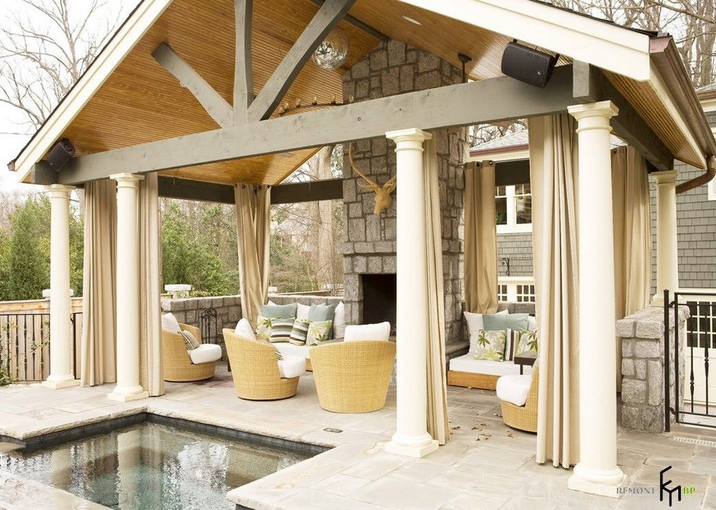 Backyard and Garden Gazebo: Design, Form, Use and Practical Advice. White American styled wooden pavilion