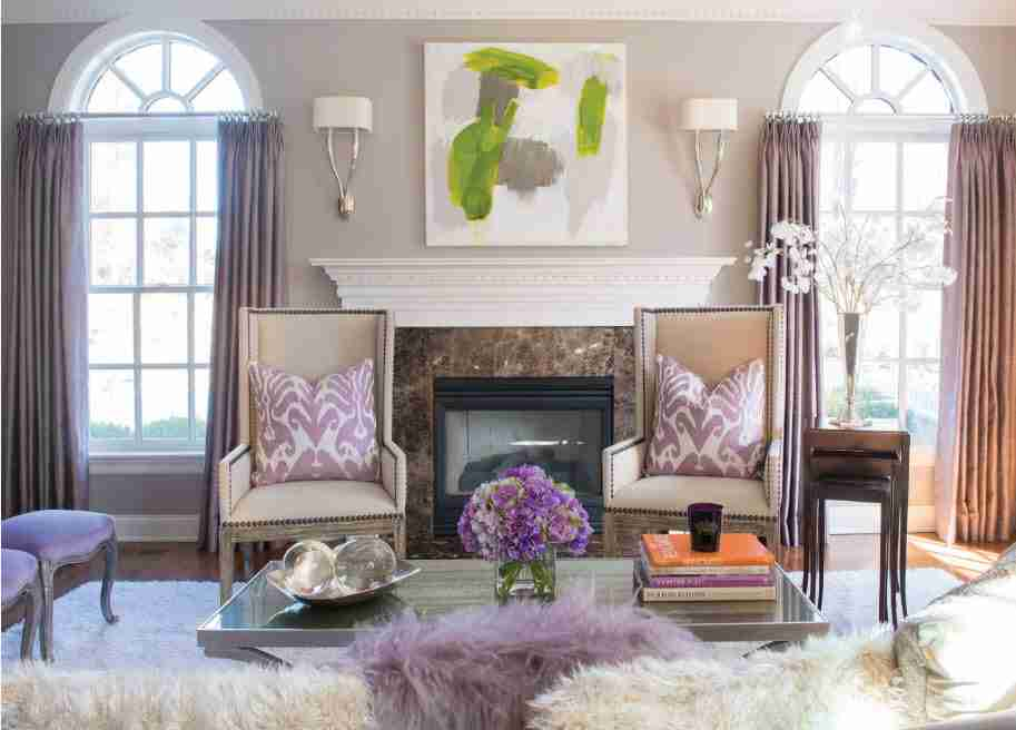 Ivory Interior Decoration Ideas, Photos, Advice. Classic interior style with vintage furniture and impressionistic picture over the fireplace