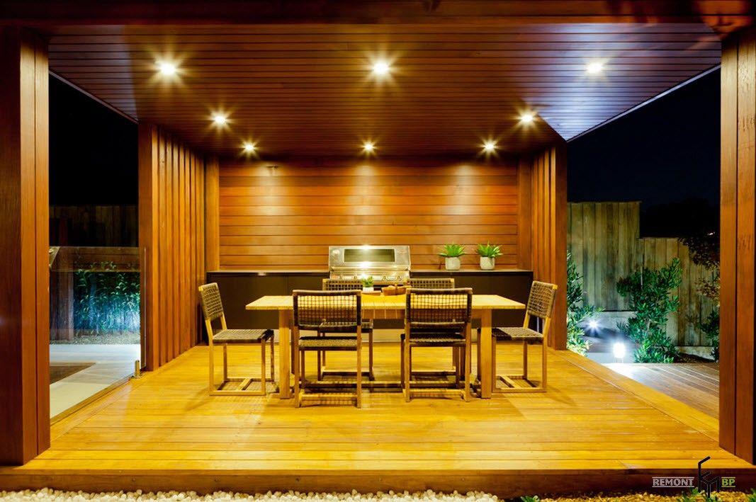 Backyard and Garden Gazebo: Design, Form, Use and Practical Advice. Wooden modern designed gazebo