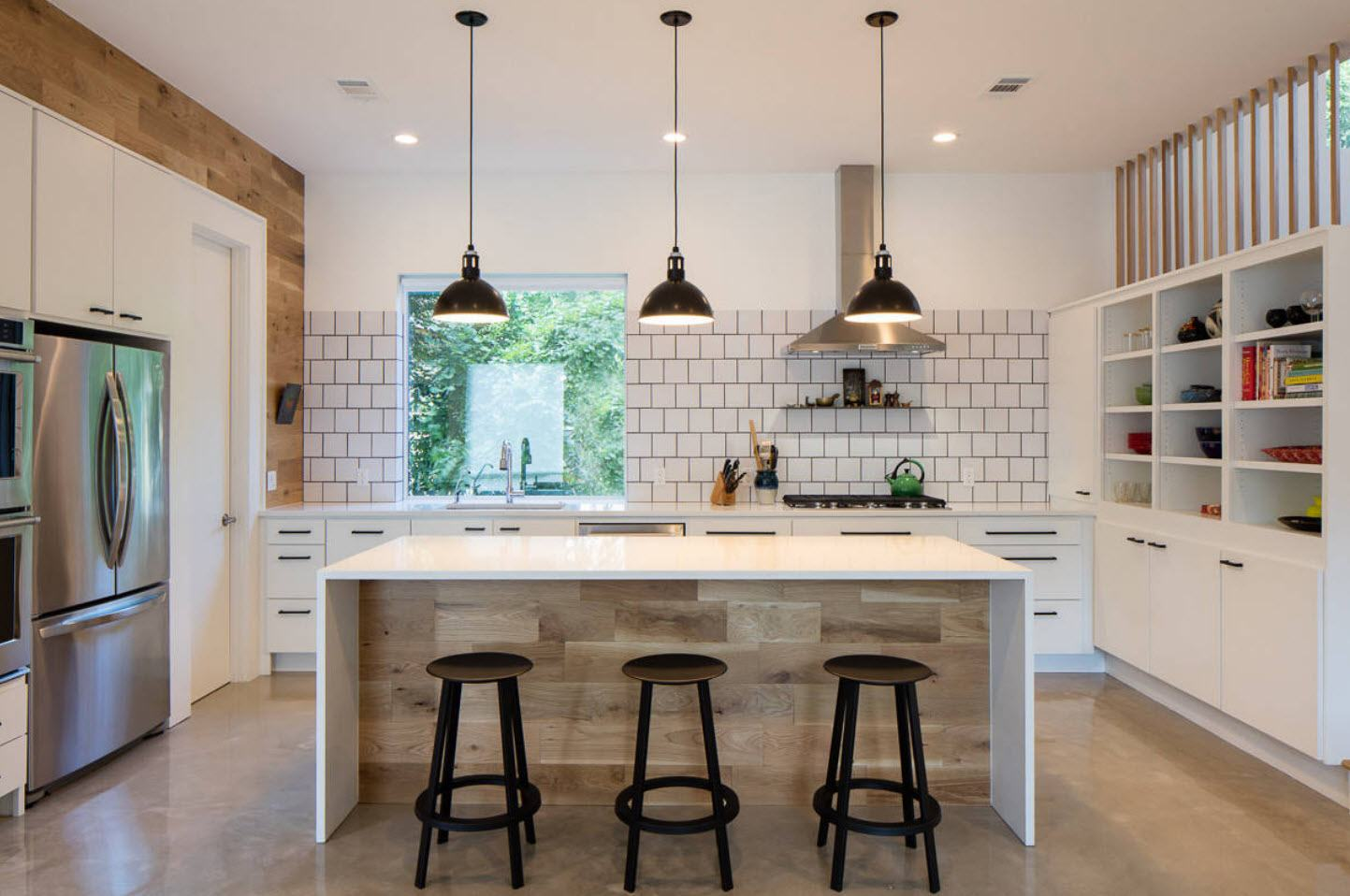 120 Square Feet Kitchen Interior Design Ideas with Photos. Casual design with white mosaic at the splashback zone