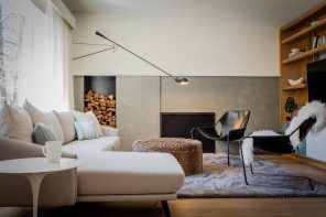 Firewood rack and round ottoman for the Scandi styled living