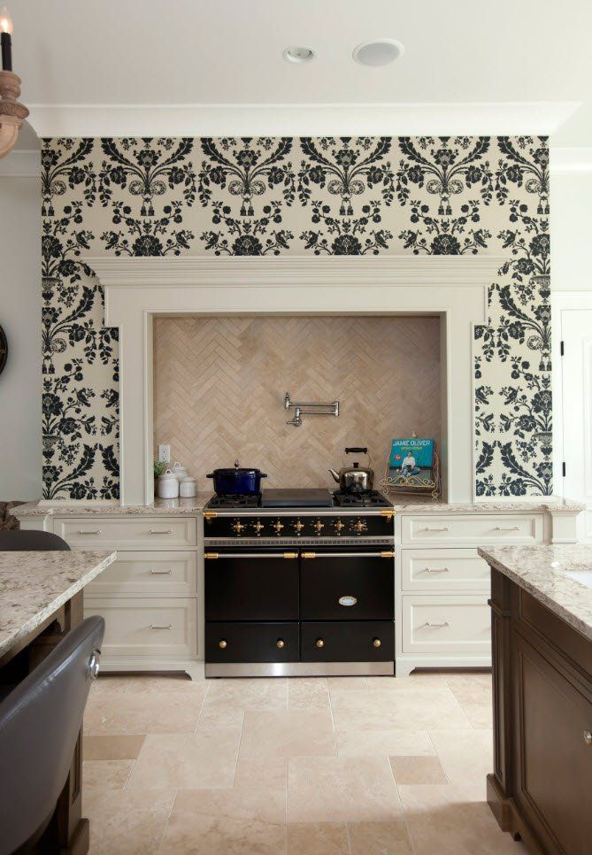 Black and White Wallpaper: Ageless Classics in any Interior. Classic design with mantelshelf at the kitchen