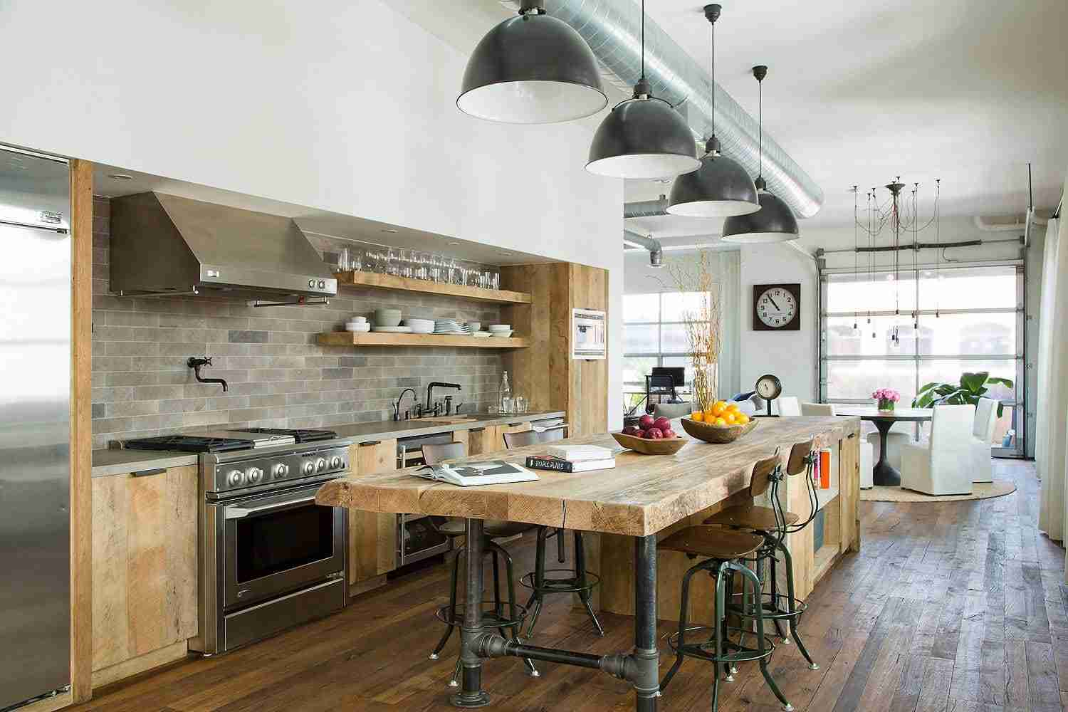 Solid Wood Kitchen Stylish Ideas for Modern Interiors. Rustic design with stone wall