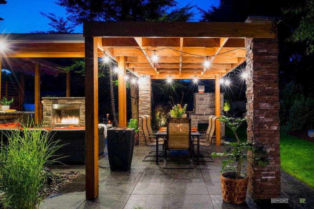 Backyard and Garden Gazebo: Design, Form, Use and Practical Advice. The backyard landscape at night