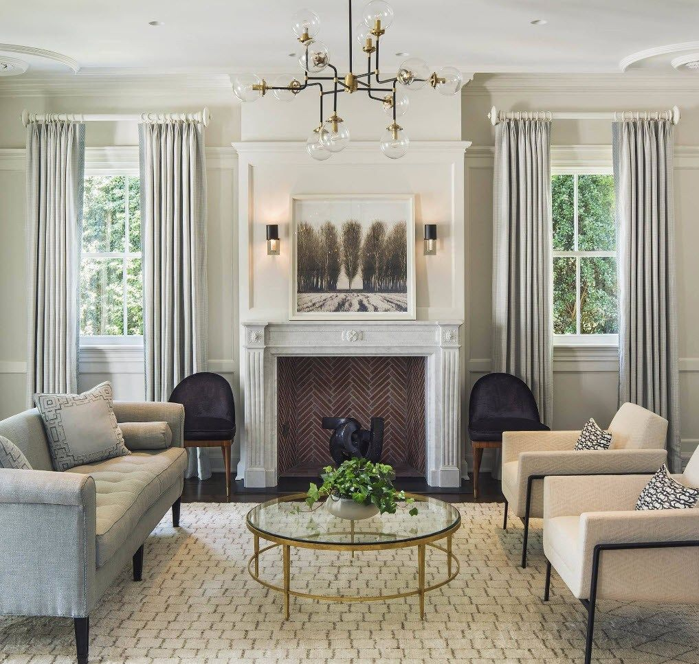150 Square Feet Living Room Best Arrangement Ideas. Typical Classic space in pastel tones