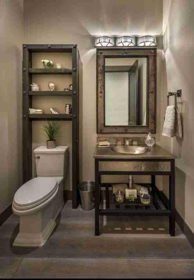 Bathroom Shelves: Fashionable Trends of Practical Interior Decoration. Dark gray and beige color scheme for mid-century styled bathroom