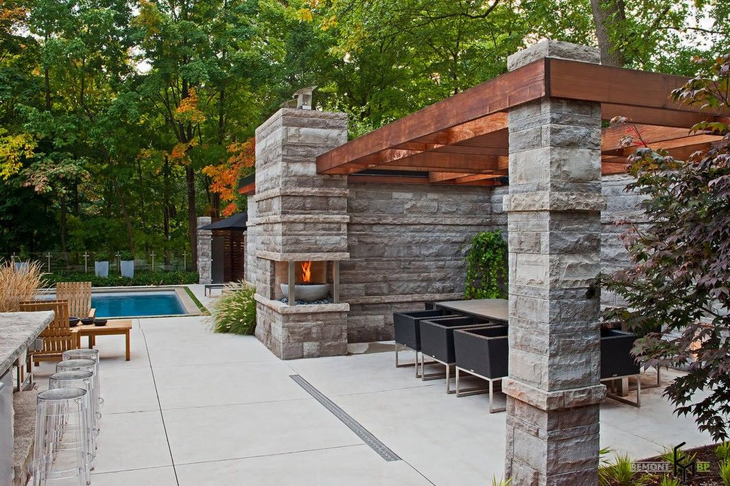 Backyard and Garden Gazebo: Design, Form, Use and Practical Advice. Solid stone gazebo in gray color