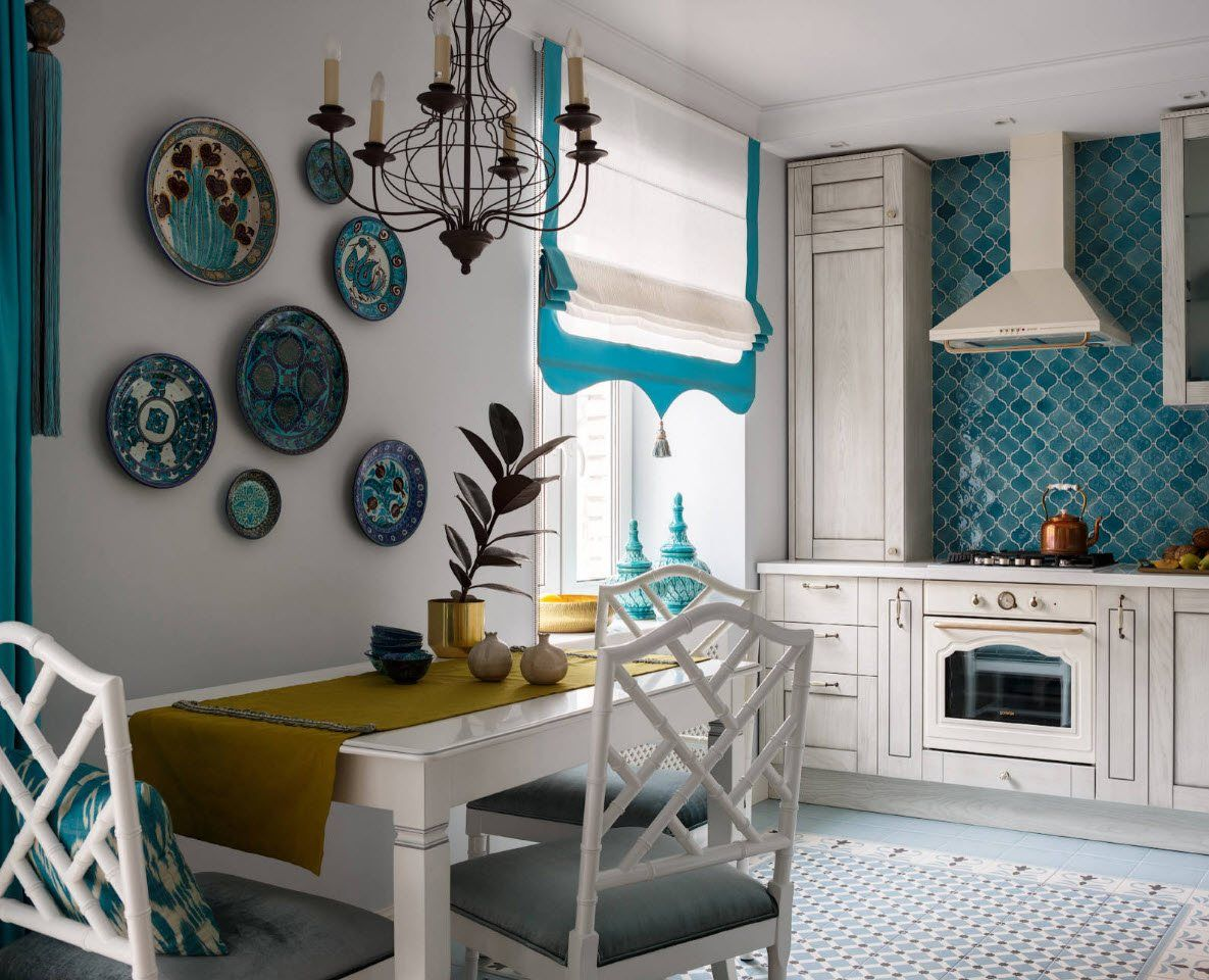 Ethnic European decoration with turquoise color accent