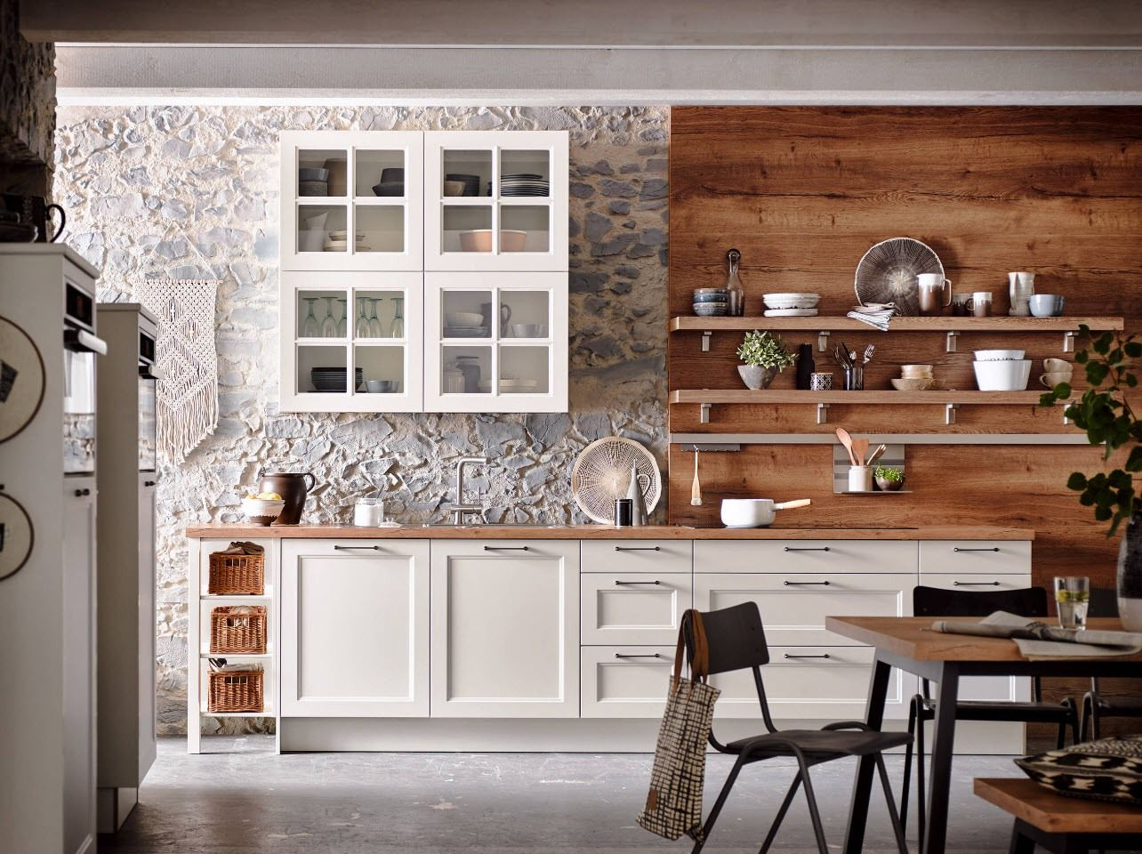 Gray kitchen design with unusual texture of the wall plaster