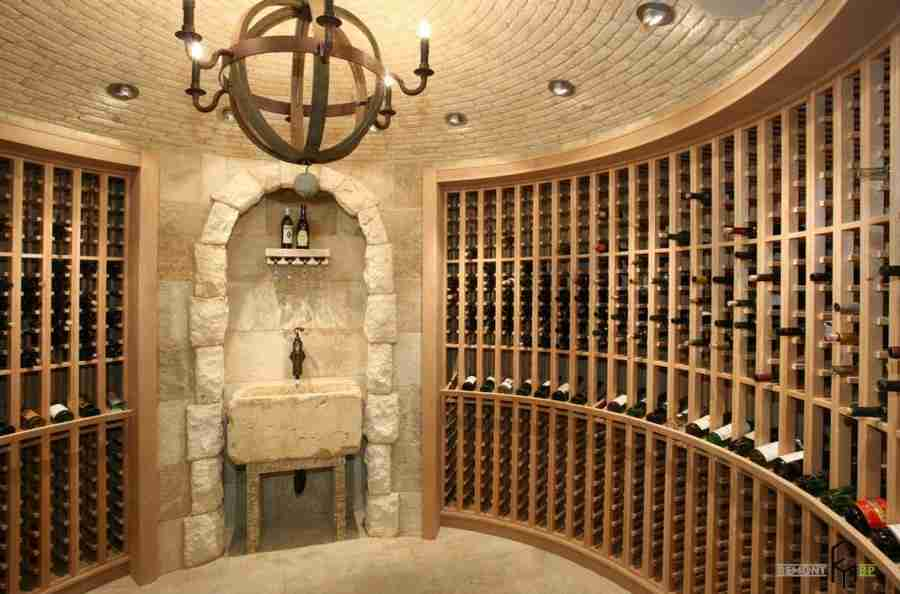 Round form of the medieval castle formed wine cellar