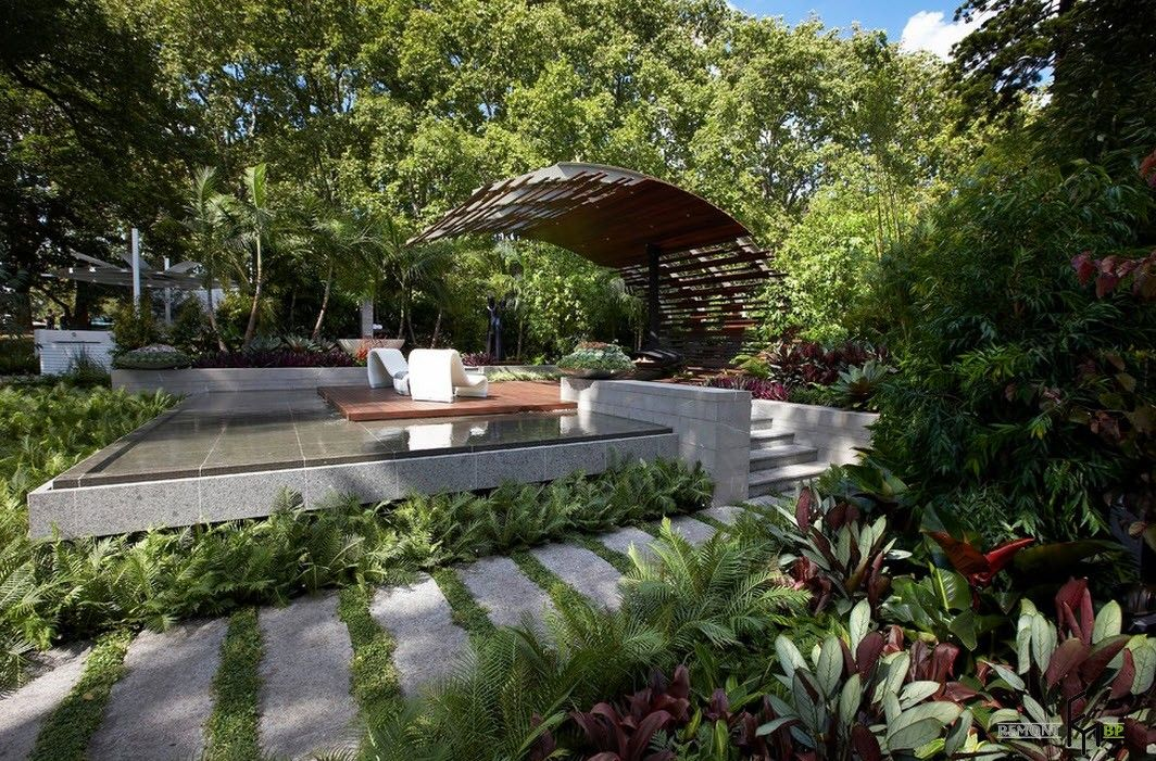 Backyard and Garden Gazebo: Design, Form, Use and Practical Advice. Modern looking canopy at the marble trimmed patio